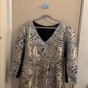 ELOQUII 20 Metallic zebra print puff sleeve dress